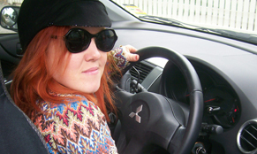 girl taking driving lessons